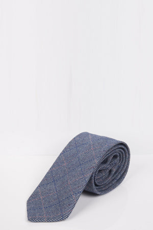 Hilton Blue Check Tweed Tie - Wedding Suit Direct
