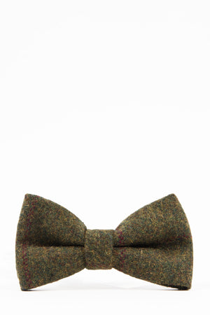 MITCHELL Tweed Olive Green Wine Check Bow Tie - Wedding Suit Direct
