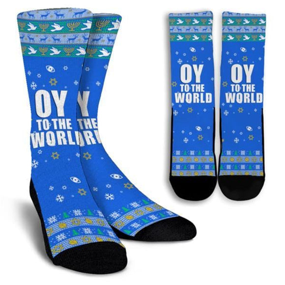 Oy to the world Hanukkah Socks