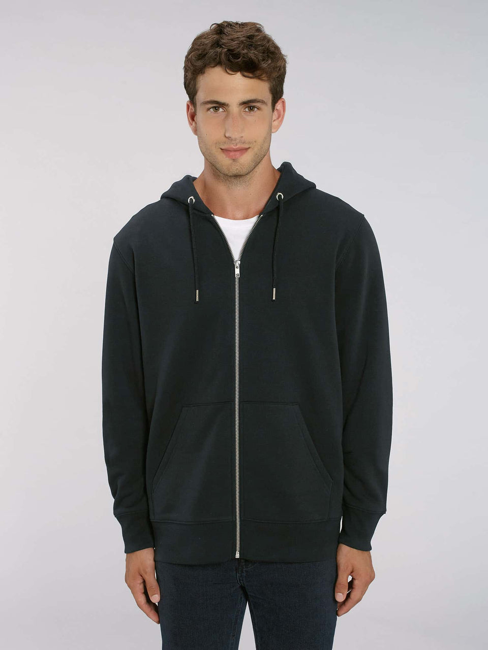 Song Weaving Made To Order Men zip-thru hoodie sweatshirt - Black