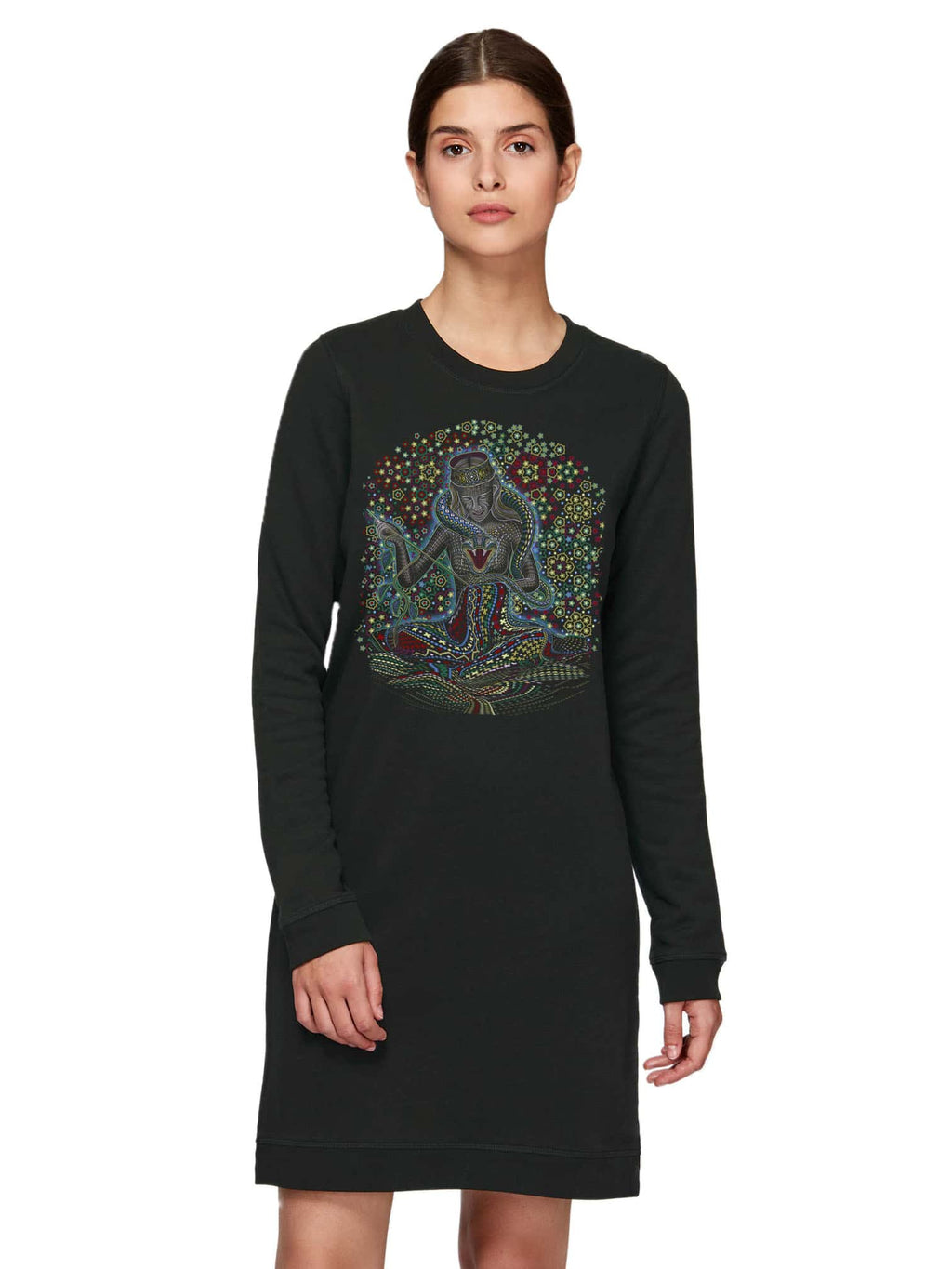 Song Weaving Made To Order  Women Crew Neck Dress - Black