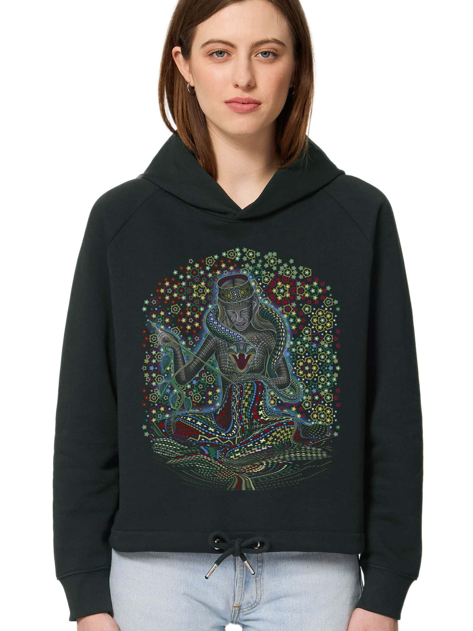 Song Weaving Made To Order Women Cropped Hoodie Sweatshirt - Black