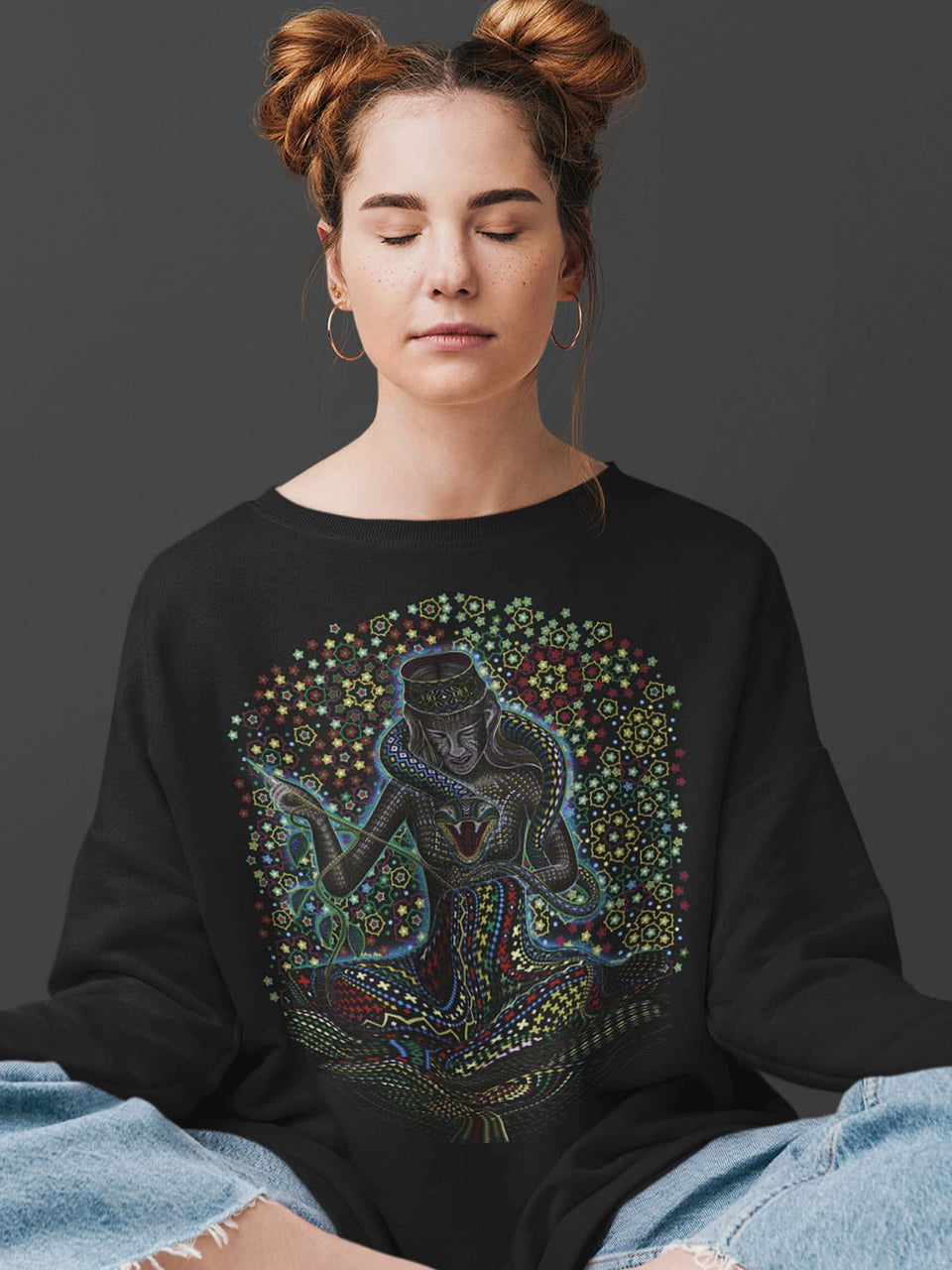 Song Weaving Made To Order  Women relaxed fit sweatshirt- Black