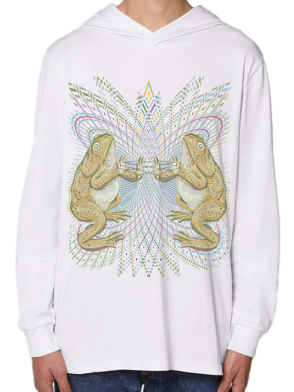Bufo Alvarius Made To Order Men Hoddie Long Sleeve T- shirt - White