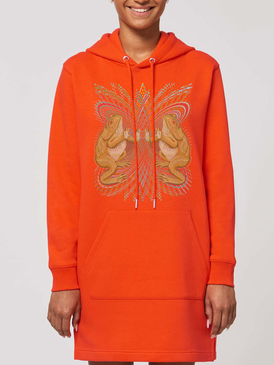Bufo Alvarius Made To Order Women Hoodie Dress - Tangerine