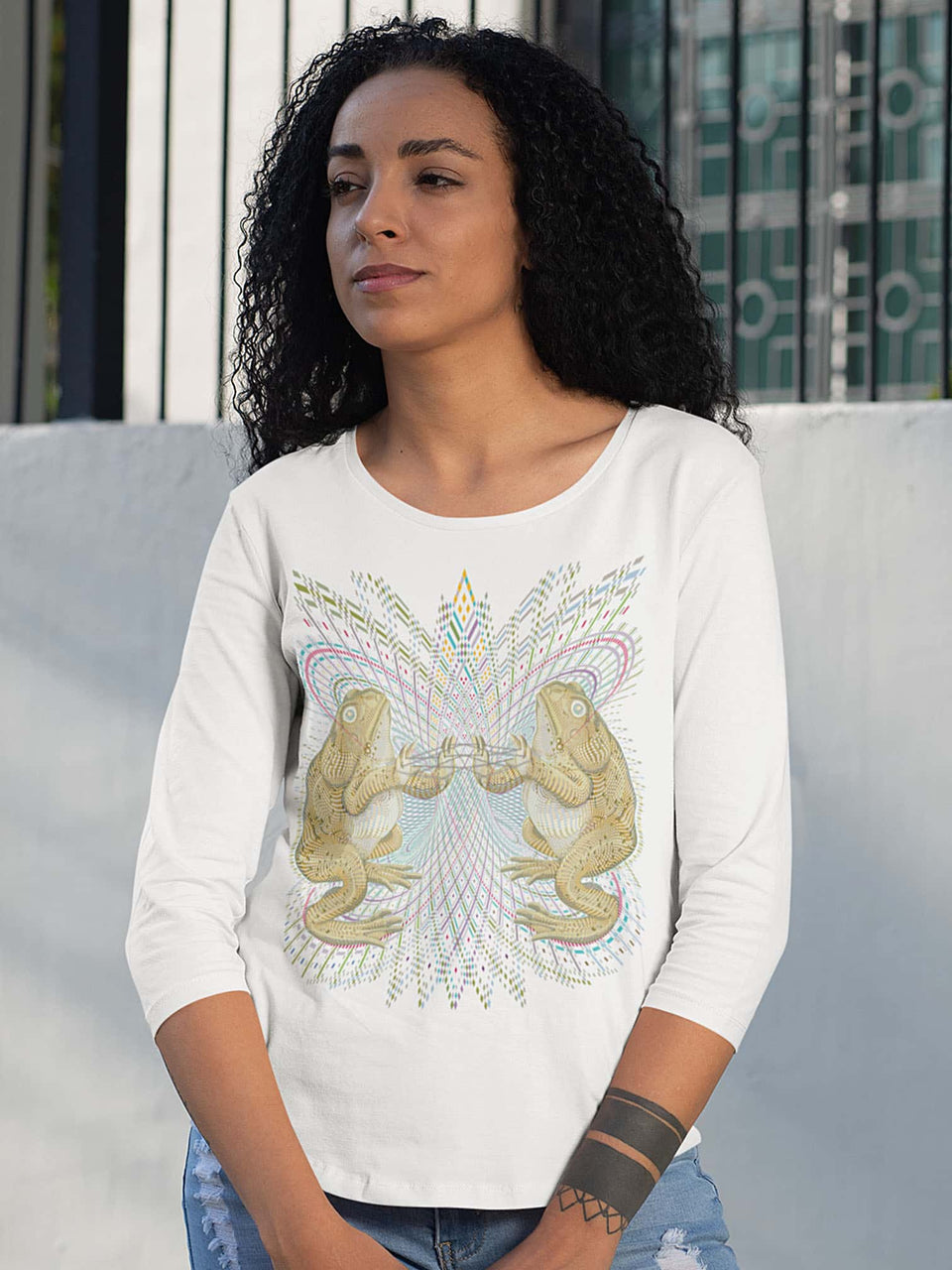 Bufo Alvarius Made To Order Women  3/4 sleeve dropped shoulder t-shirt - White