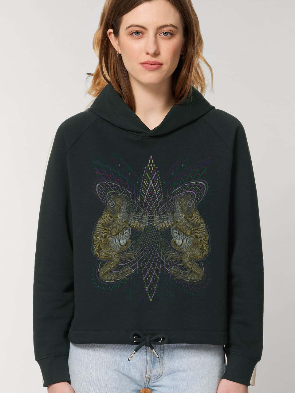 Bufo Alvarius Made To Order Women Cropped Hoodie Sweatshirt - Black