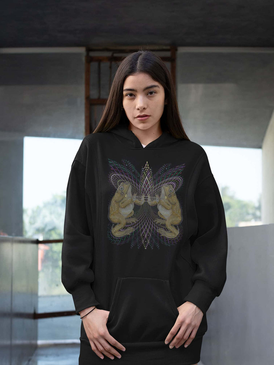 Bufo Alvarius Made To Order Women Hoodie Dress - Black