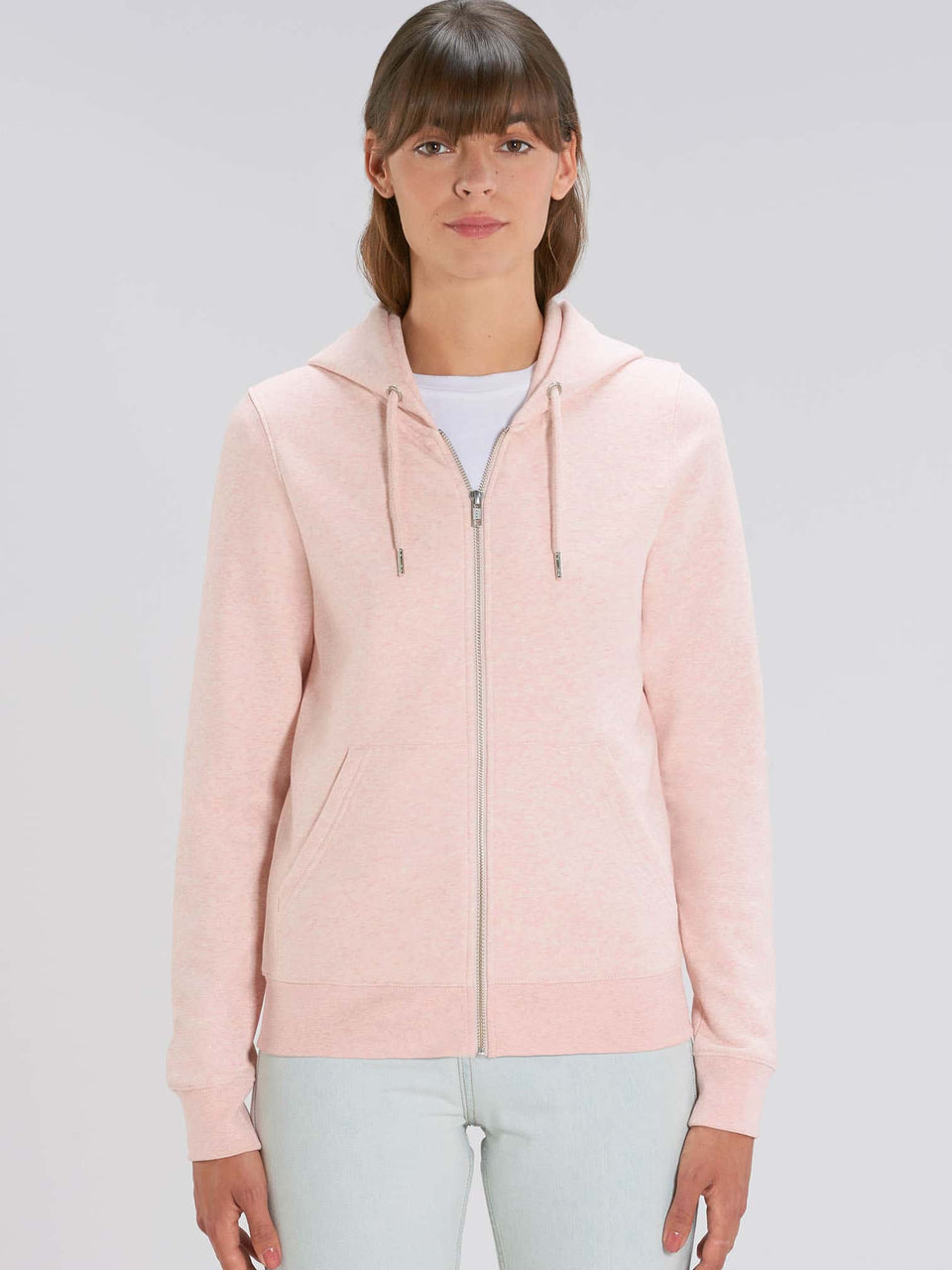Bufo Alvarius Made To Order  Women zip-thru hoodie sweatshirt - Cream Heather Pink