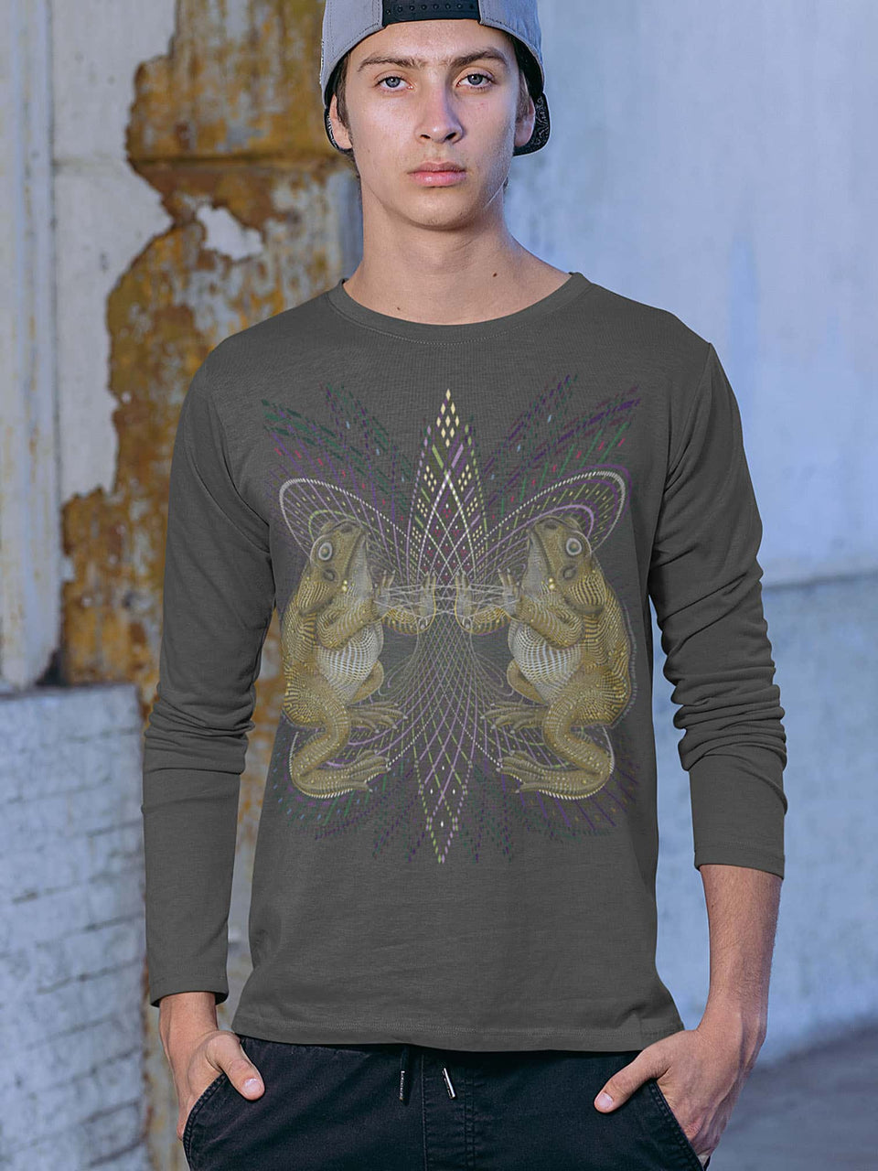 Bufo Alvarius Made To Order Men Long Sleeve T-shirt - Anthracite