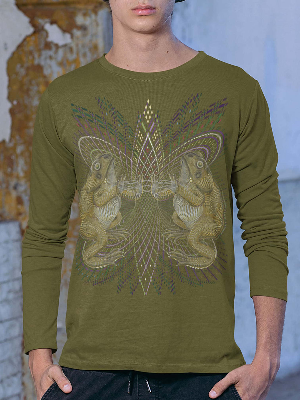 Bufo Alvarius Made To Order Men Long Sleeve T-shirt - British Kakhi
