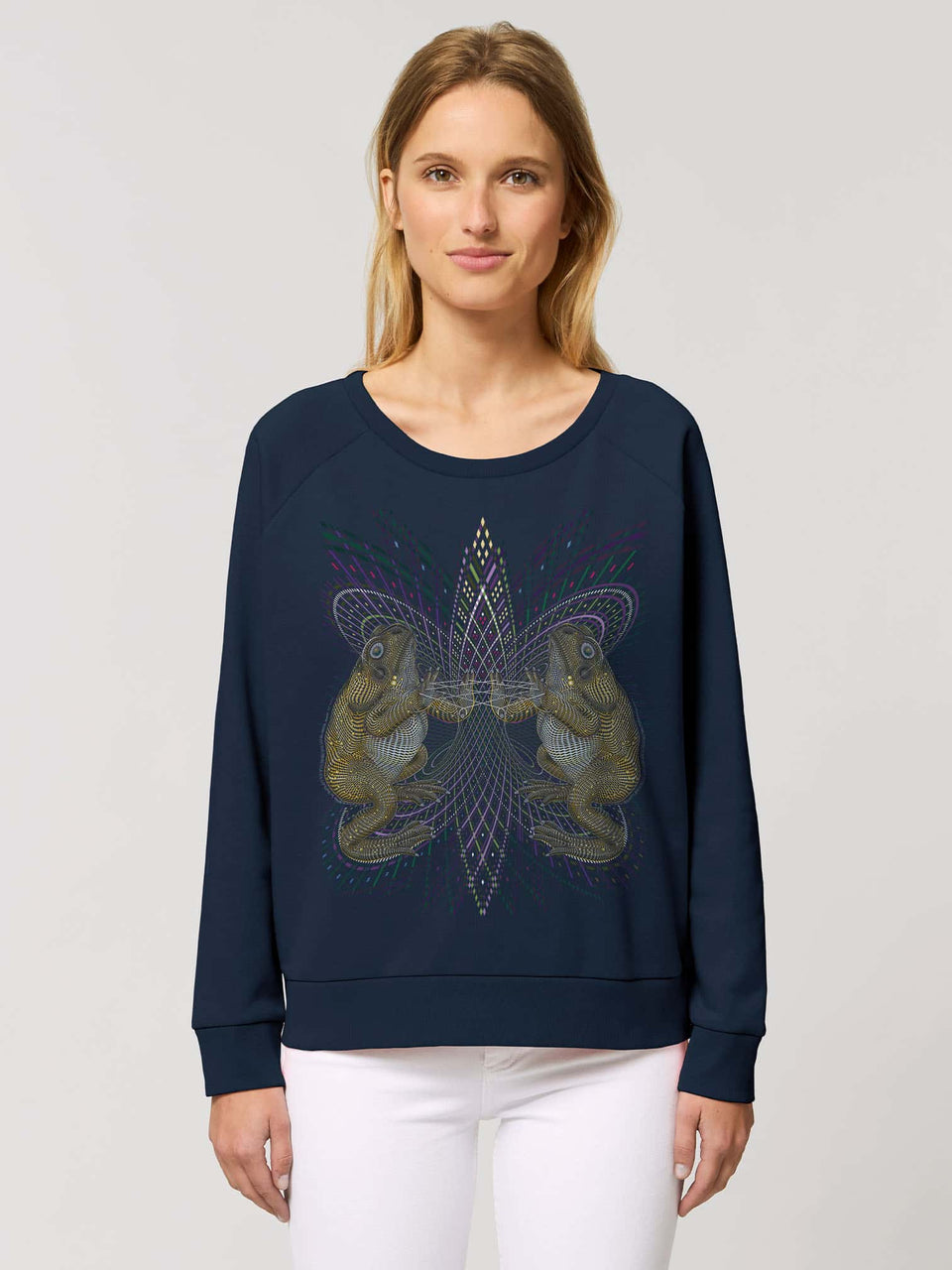 Bufo Alvarius Made To Order  Women relaxed fit sweatshirt - French Navy