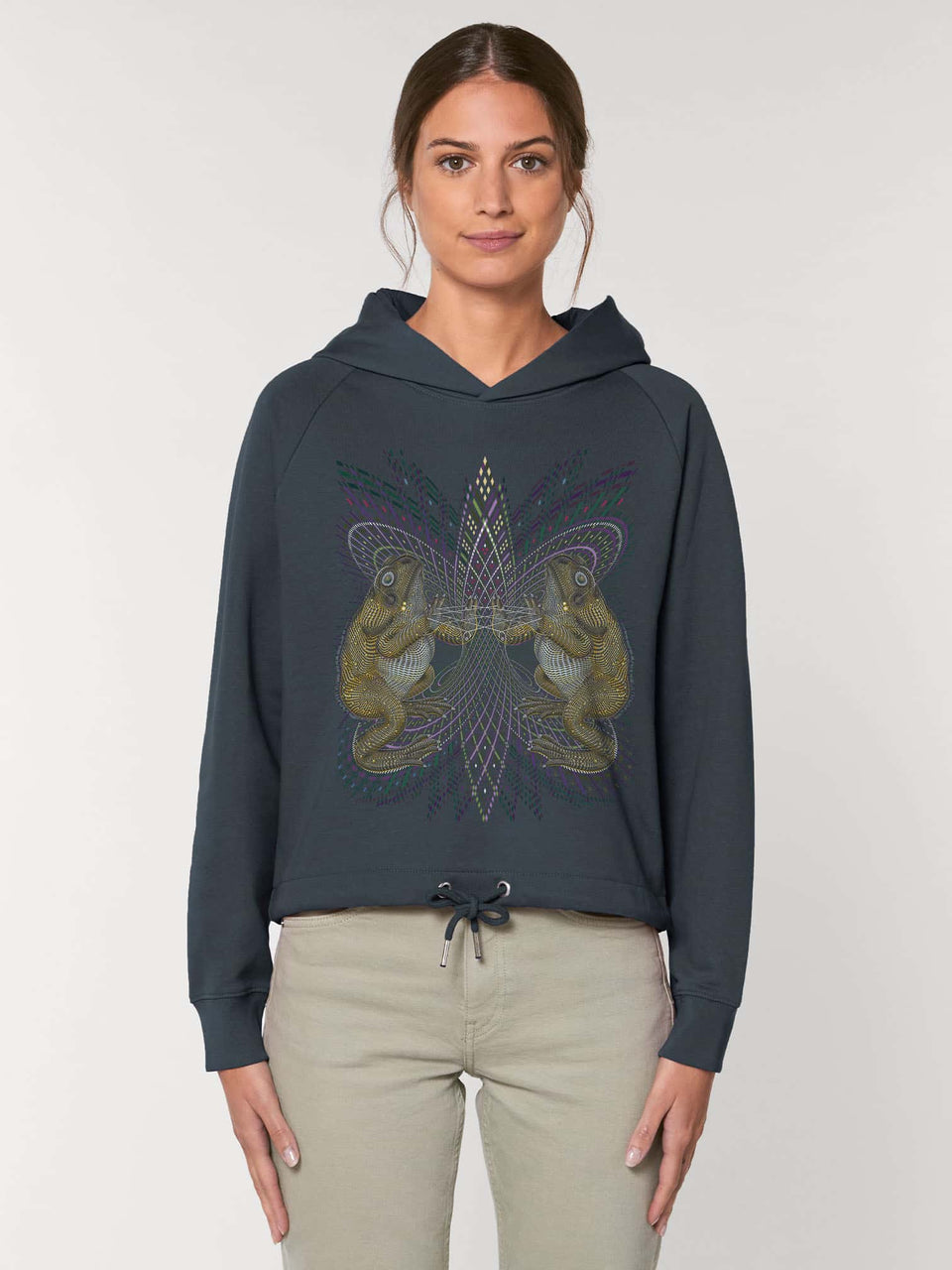 Bufo Alvarius Made To Order Women Cropped Hoodie Sweatshirt - India Ink Grey