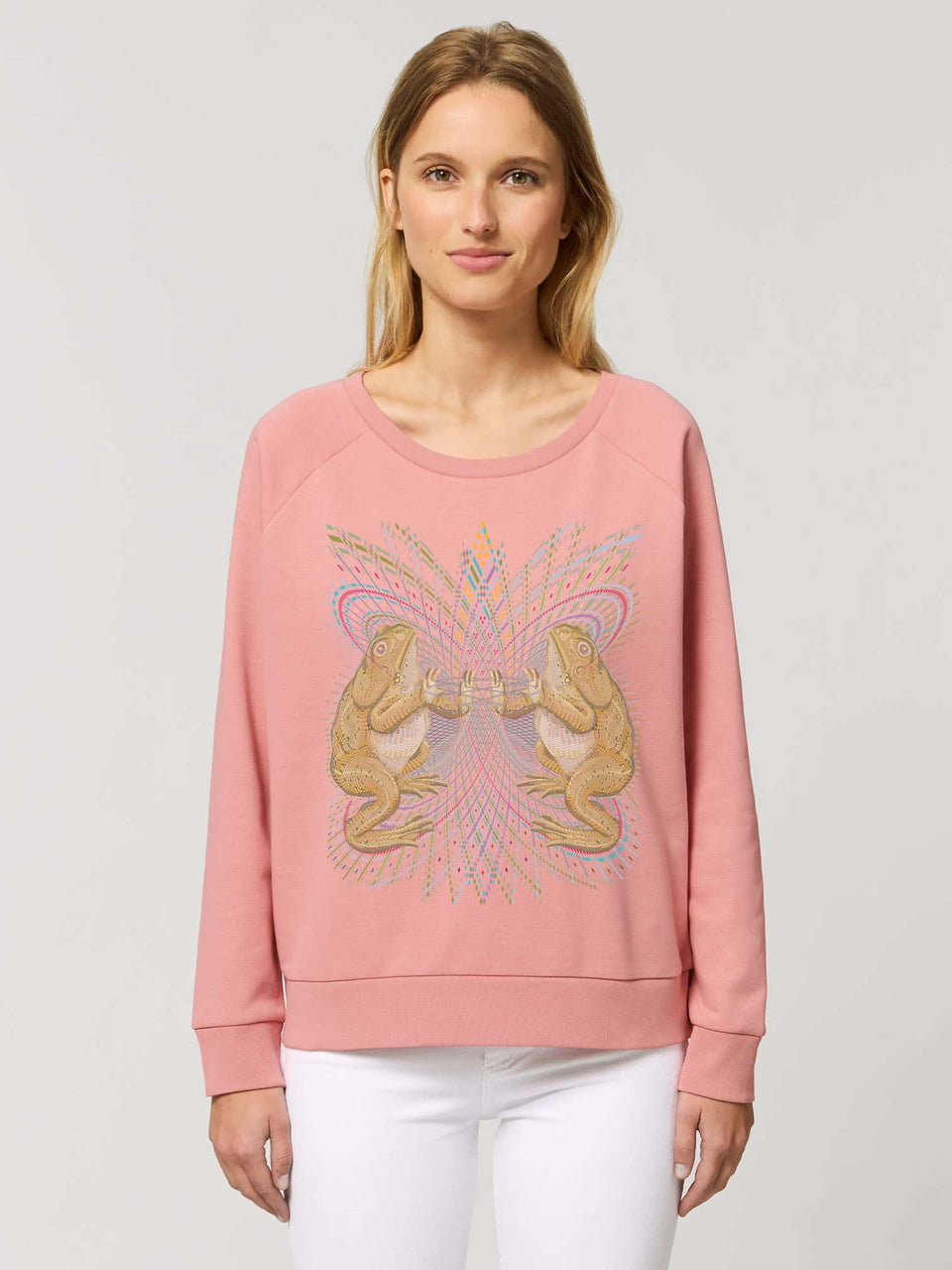 Bufo Alvarius Made To Order  Women relaxed fit sweatshirt - Canyon Pink