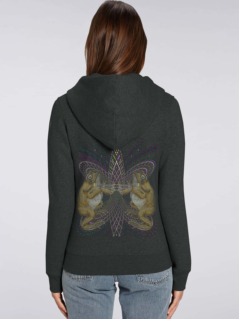 Bufo Alvarius Made To Order  Women zip-thru hoodie sweatshirt - Dark Heather