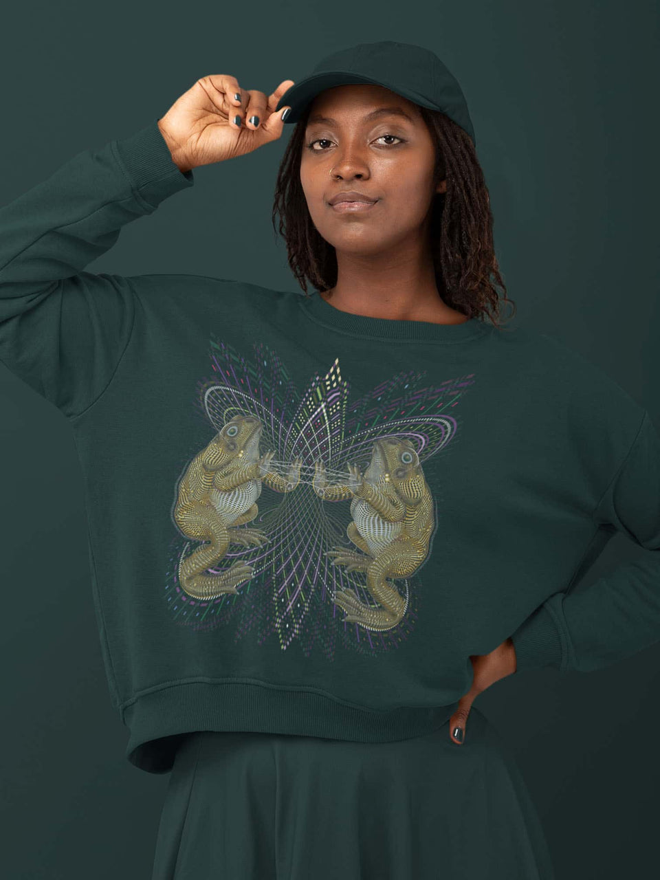 Bufo Alvarius Made To Order  Women relaxed fit sweatshirt - Glazed Green