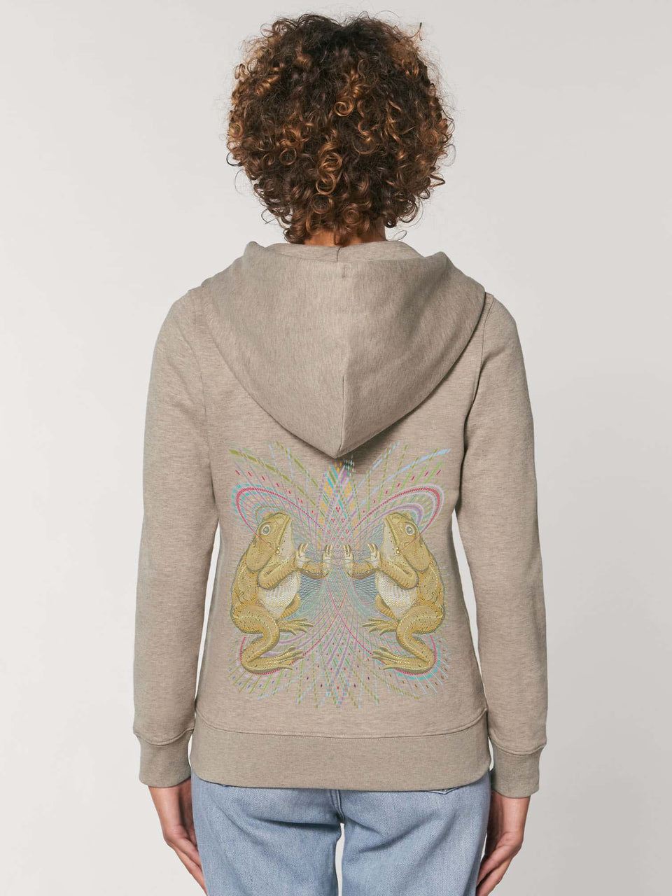 Bufo Alvarius Made To Order  Women zip-thru hoodie sweatshirt - Heather Sand