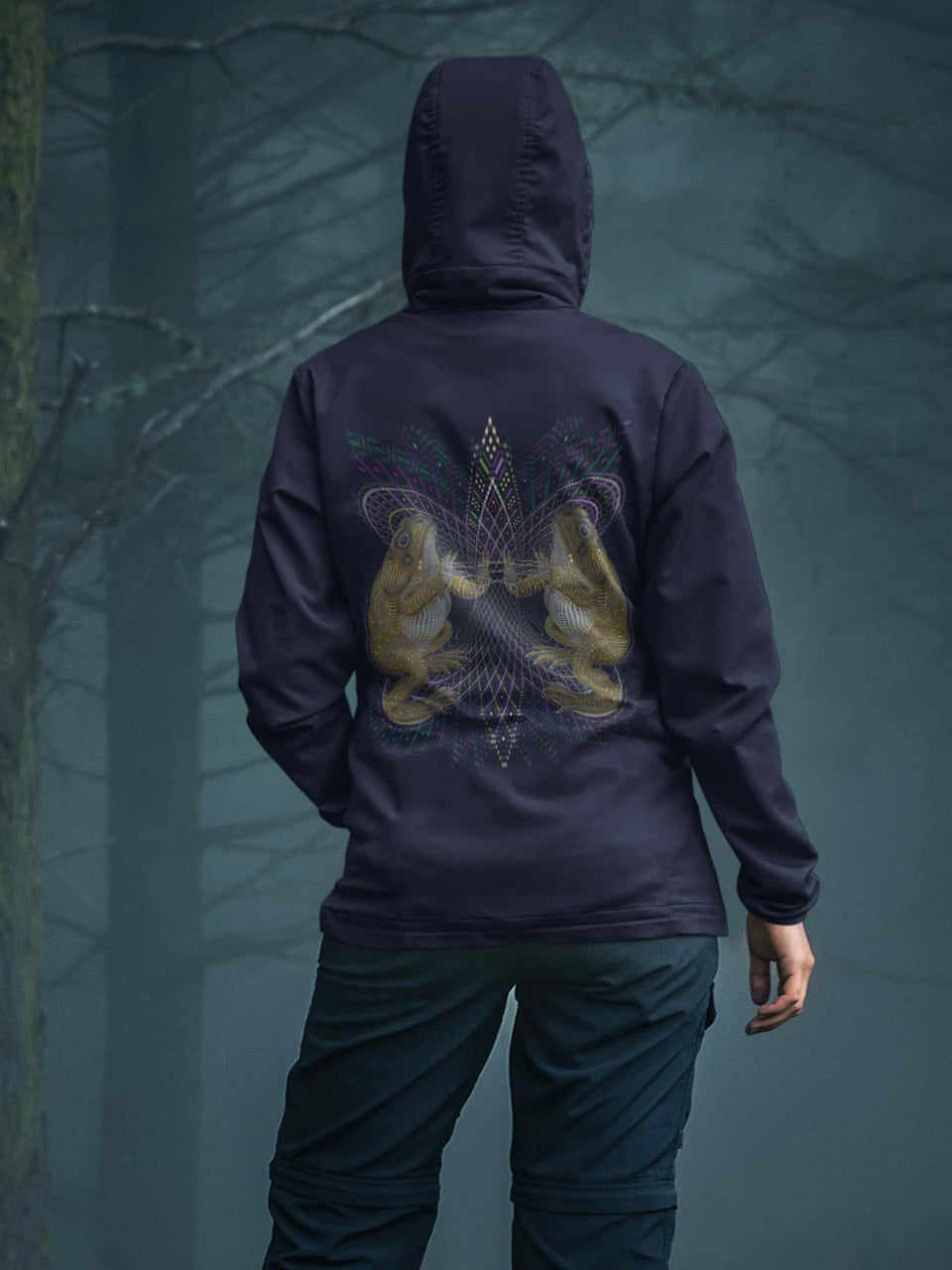 Bufo Alvarius Made To Order  Women zip-thru hoodie sweatshirt - Navy