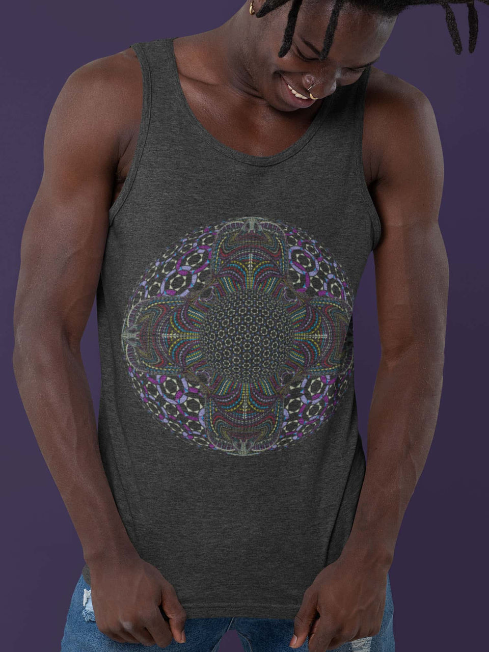 DMT HD Mandala Made To Order Men Tank Top - Dark Heather