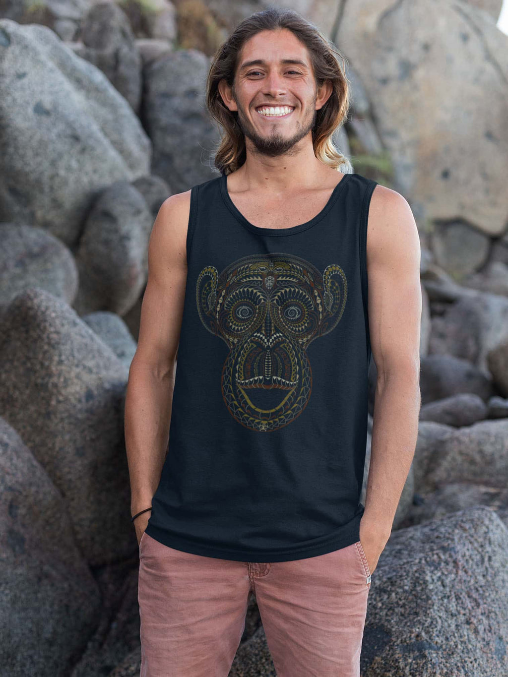 TaMonkey Made To Order Men Tank Top - Navy Blue