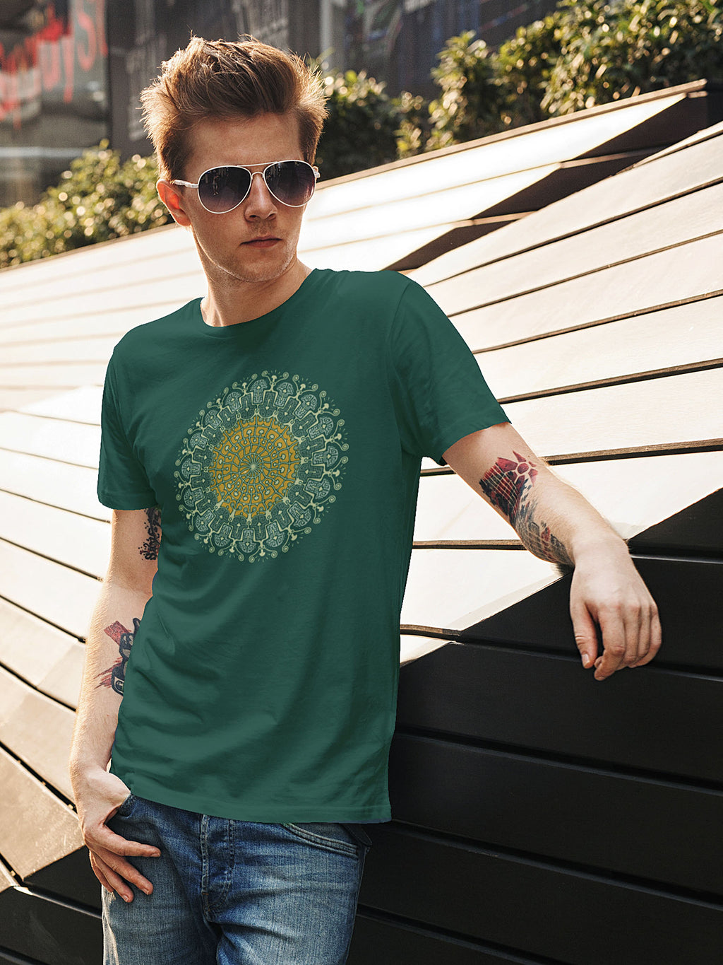 Shrooms Hora Color Made To Order Men T-Shirt - Bottle Green