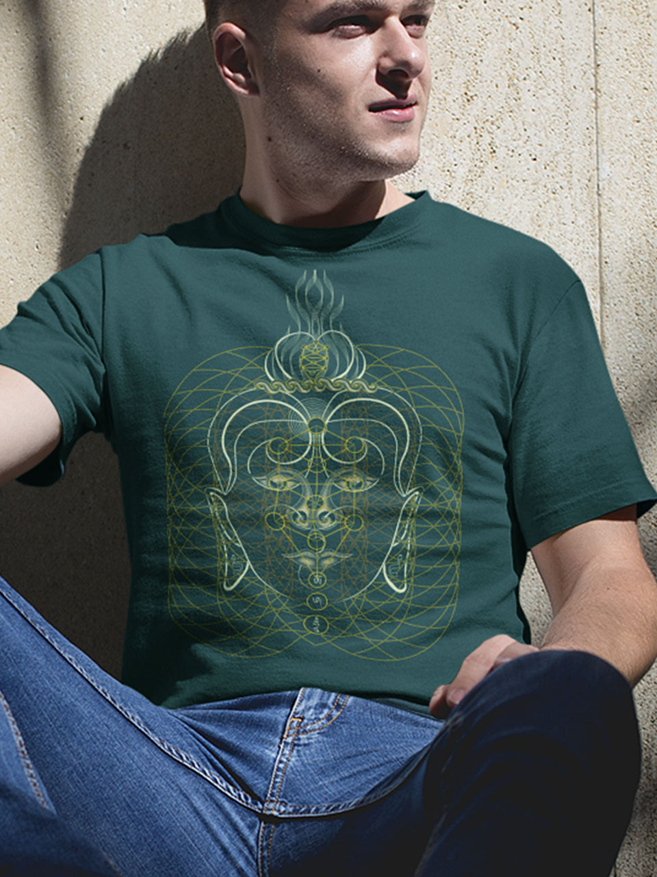 Buddha Vibes Hung Made To Order Men T-Shirt - Bottle Green
