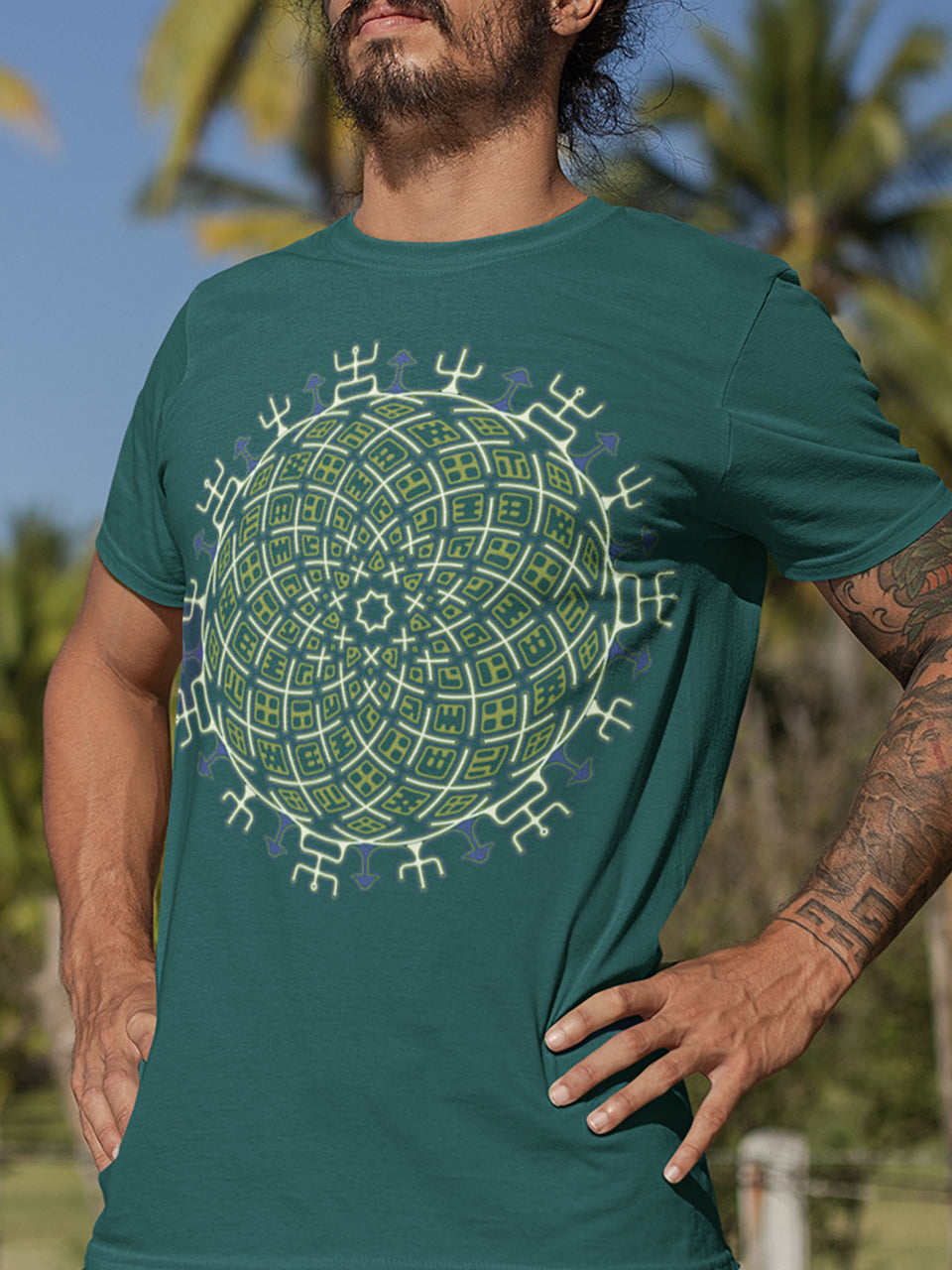 Vortex Cross Made To Order Men T-Shirt - Bottle Green