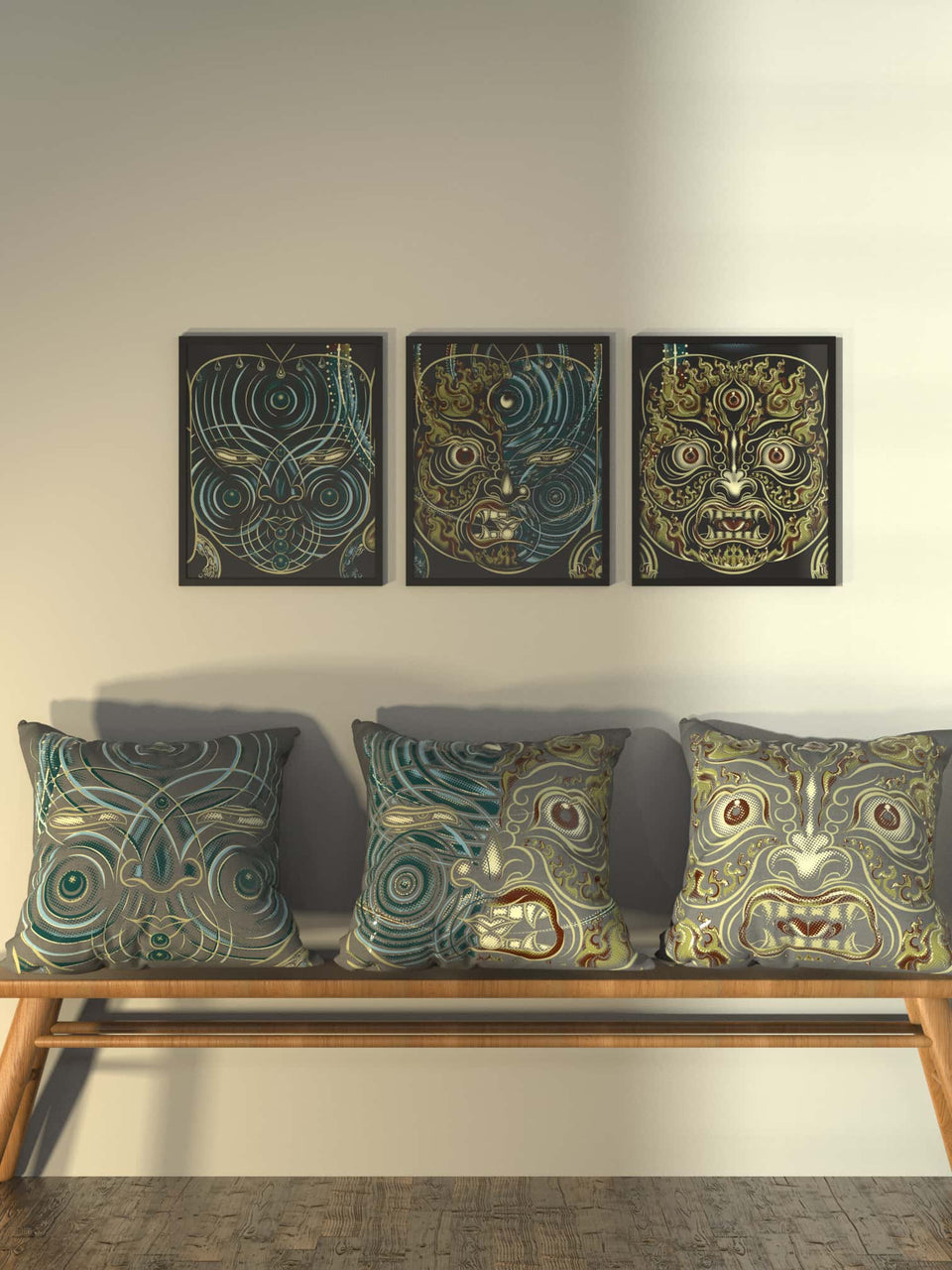 Set of 3 Yogabhoga Faces Cushion