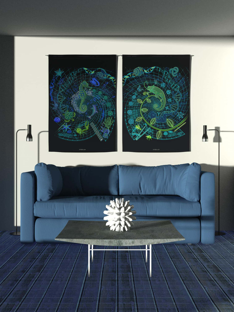 Set of 2 The Blue Print - Sea and Land  Tapestry