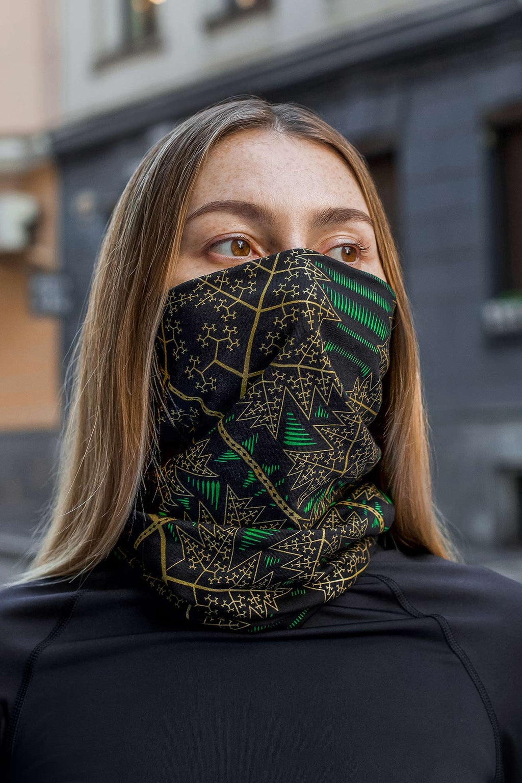 Fractal Forest Face Mask - Black