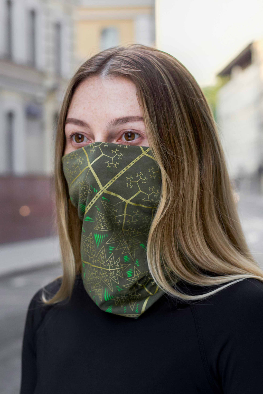Fractal Forest Face Mask - Olive