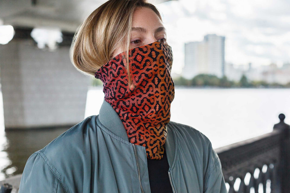Shipibo Gradient Face Mask - Black