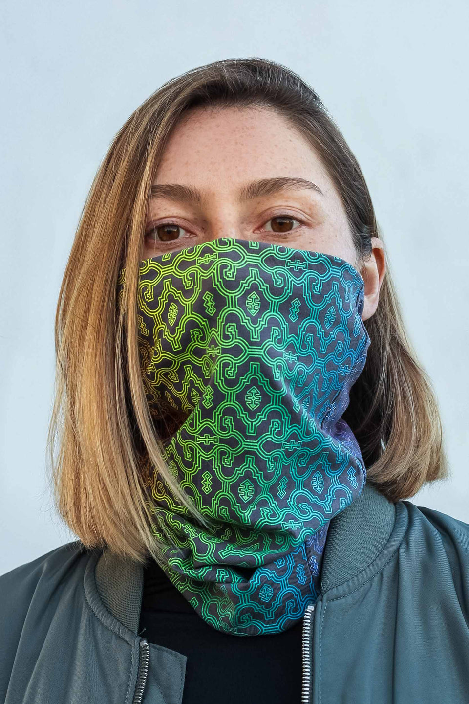 Shipibo Gradient Face Mask - Grey