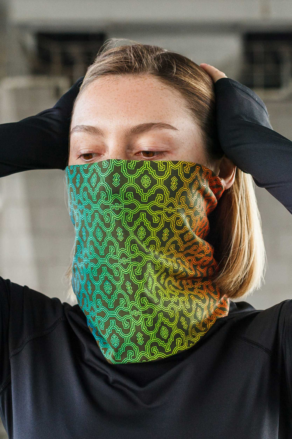 Shipibo Gradient Face Mask - Olive