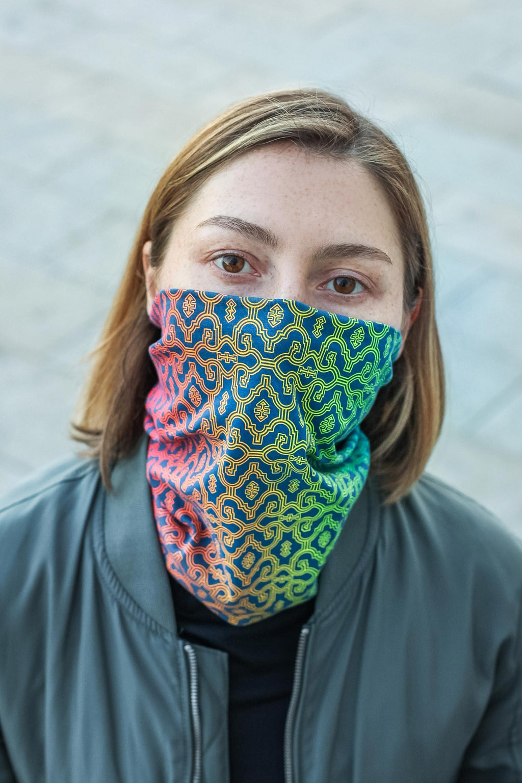 Shipibo Gradient Face Mask - Steel Blue