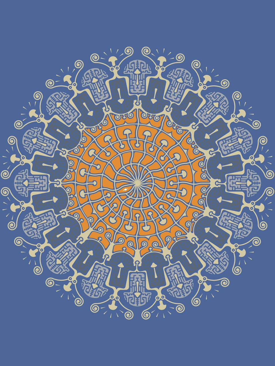 Shrooms Hora Color Made to Order Men T-shirt - Steel Blue