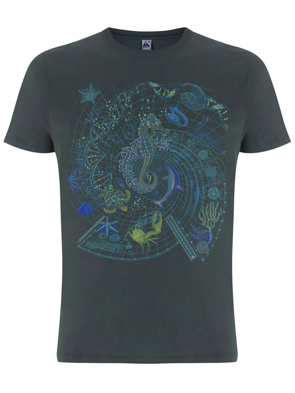 The BluePrint -Sea - Made To Order Men T-Shirt - Light Charcoal
