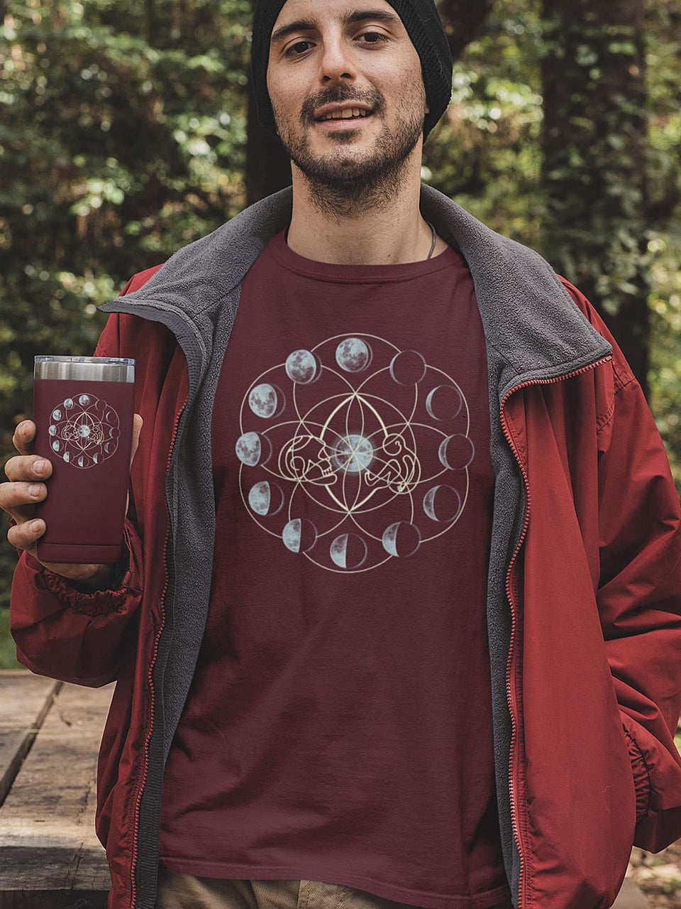 Moon Time Made To Order Men T-Shirt - Burgundy