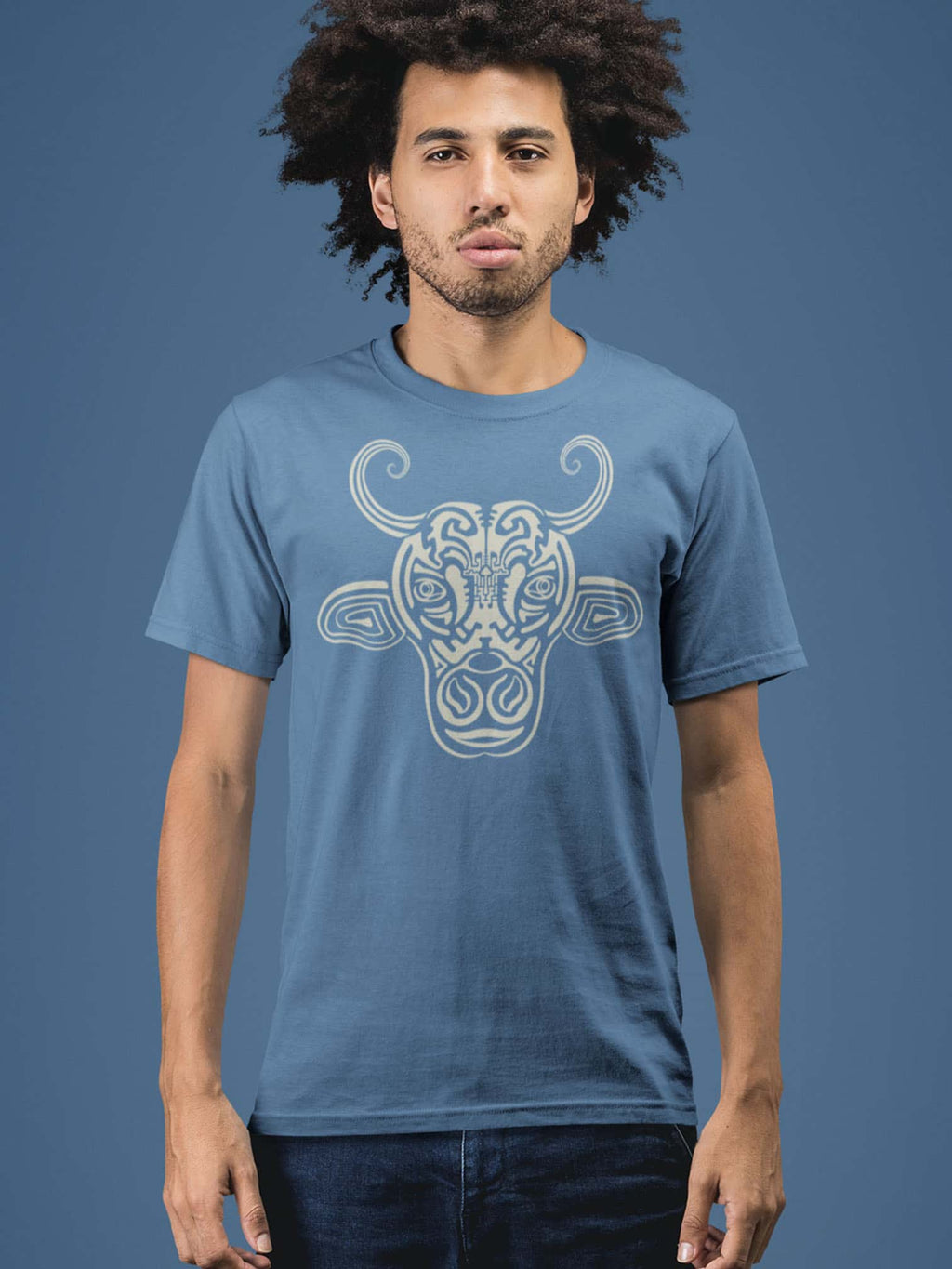 Holy Cow Made To Order Men T-Shirt - Faded Denim
