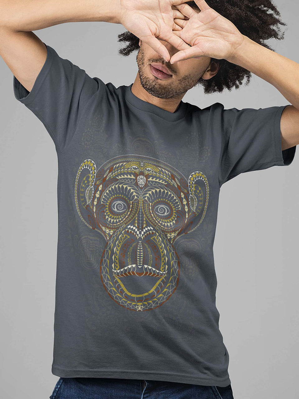 Ta Wise Monkeys  Made To Order Men T-Shirt - Light Charcoal