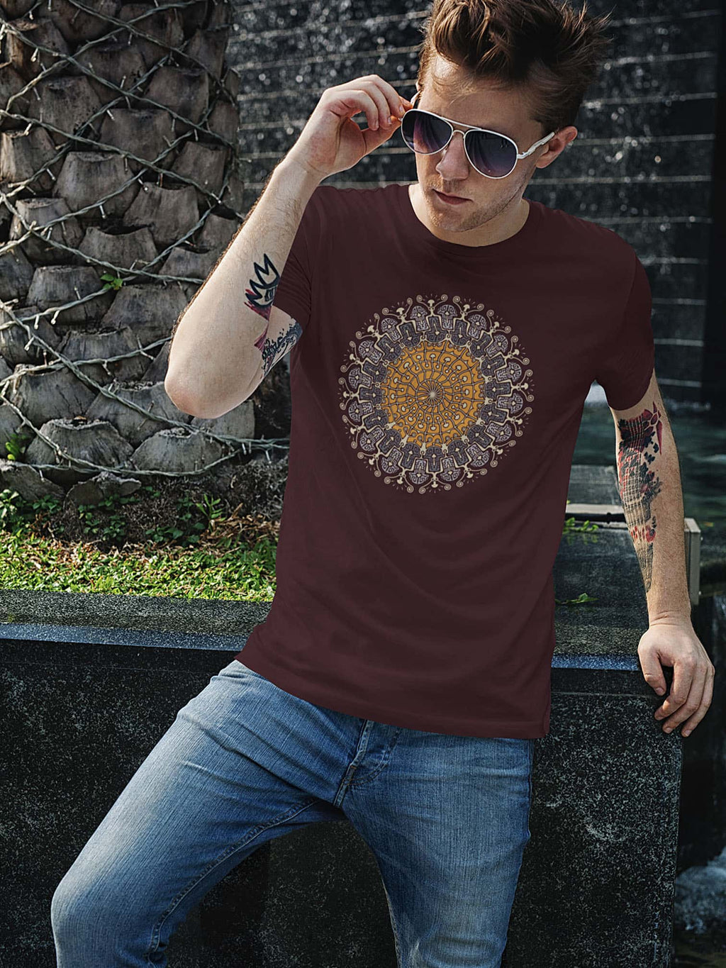 Shrooms Hora Color Made To Order Men T-Shirt - burgundy