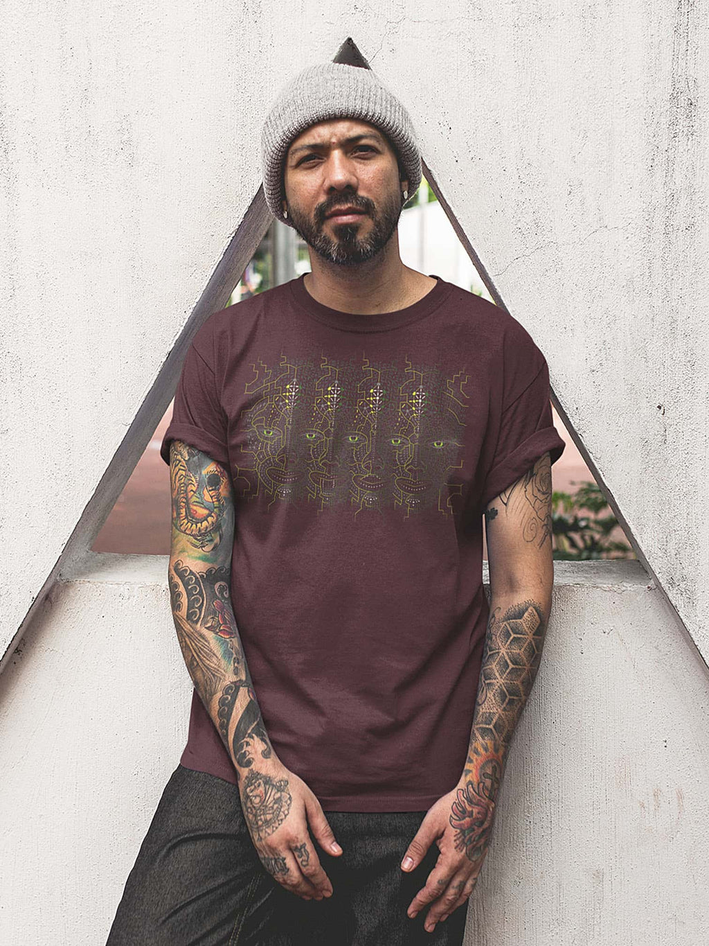 4th Dimension Made To Order Men T-Shirt - Burgundy