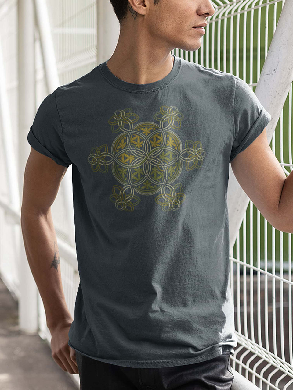 Flower Of Life - YinYang Made To Order Men T-Shirt - Light Charcoal