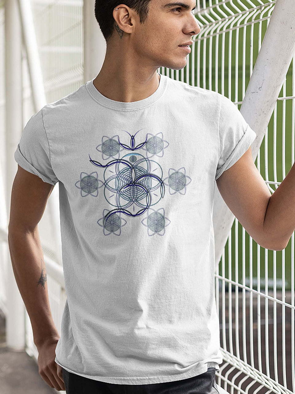 Flower Of Life - OM  Made To Order Men T-Shirt - White