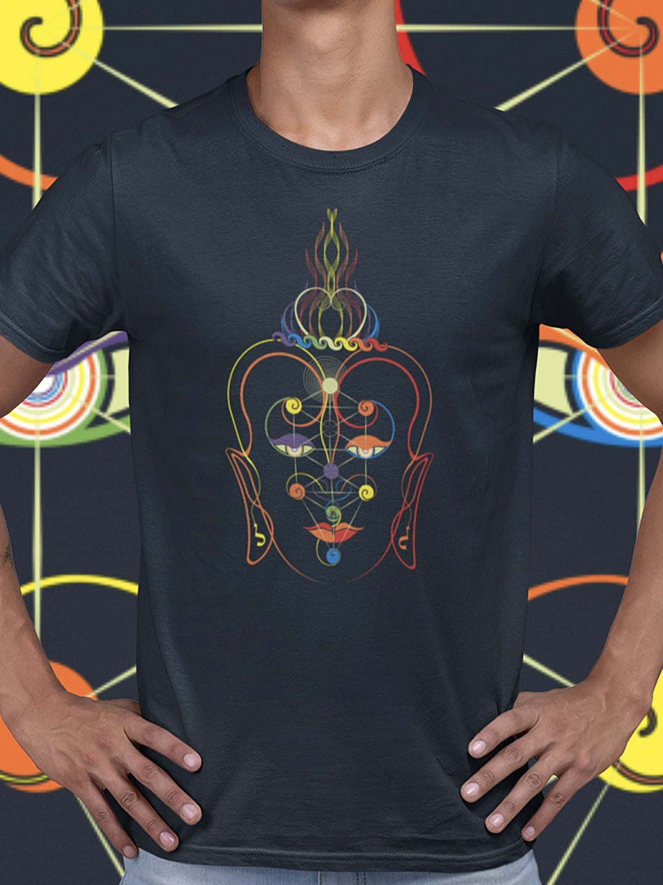 Rainbow Buddha Made To Order Men T-Shirt - Navy Blue