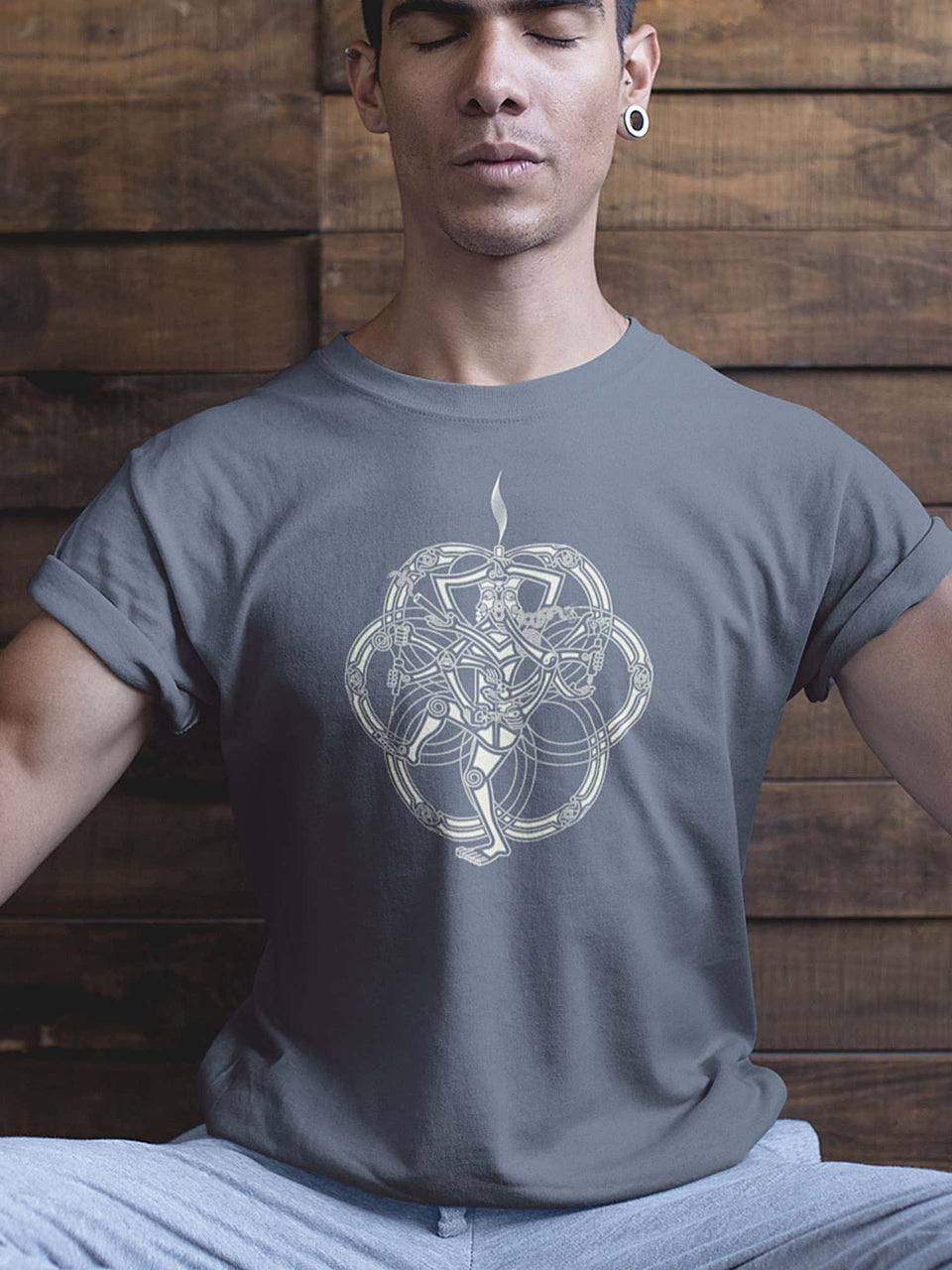 Chillum Yoga Mandala Made To Order Men T-Shirt - Light Charcoal