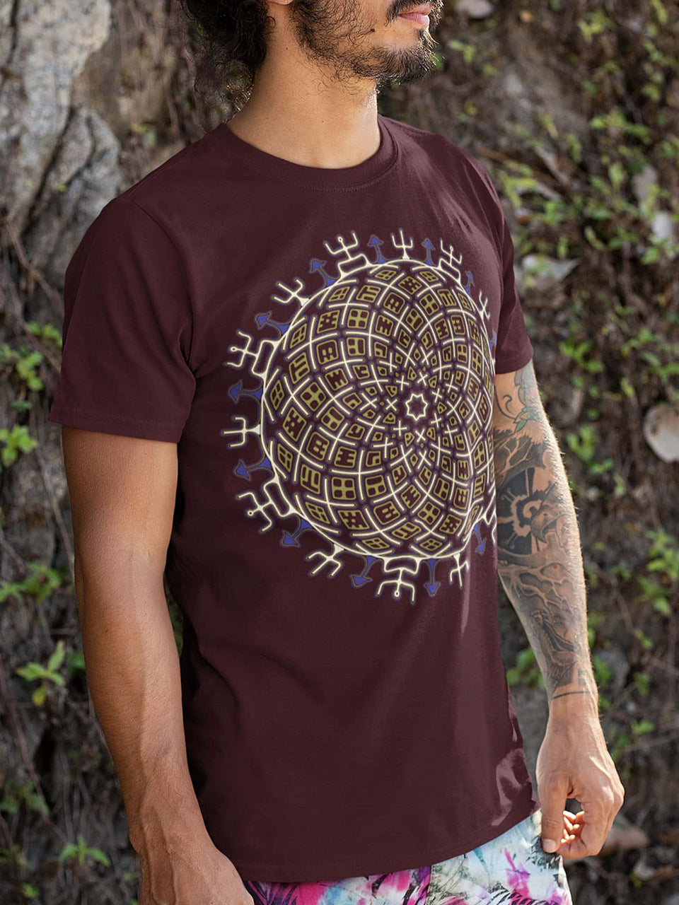 Vortex Cross Made To Order Men T-Shirt - Burgundy
