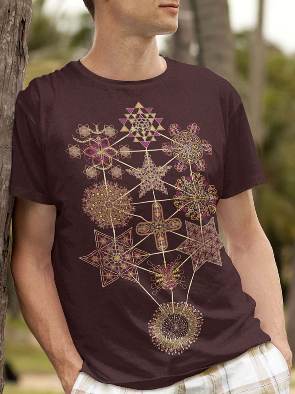 Symbol Tree Made To Order Men T-Shirt - Burgundy