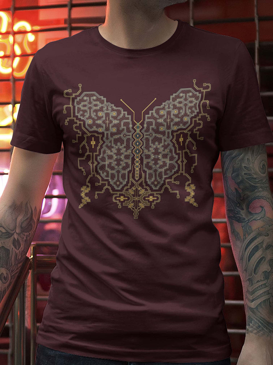 Shipibo Butterfly Made To Order Men T-Shirt - Burgundy