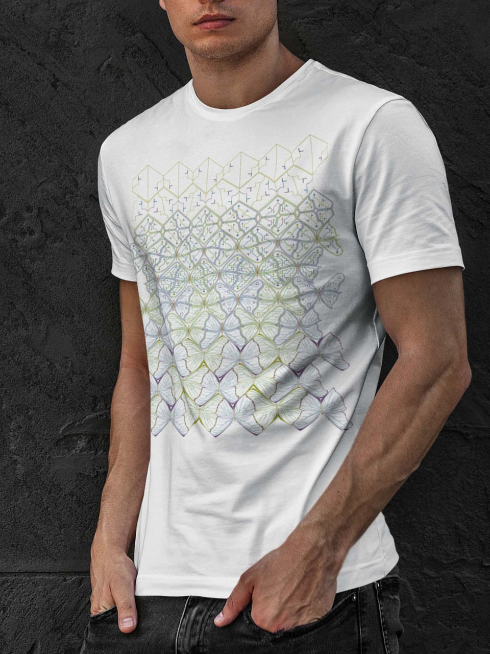 Butterfly Morph Made To Order Men T-Shirt - White